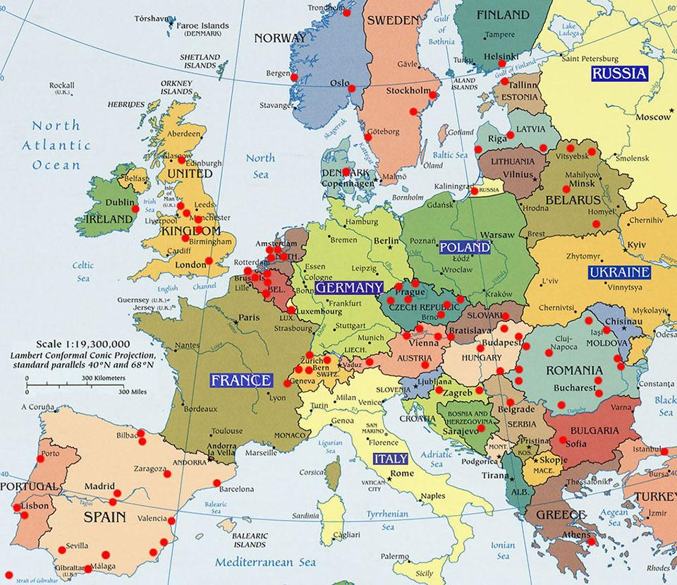 Linee tranviarie in europa la mappa delle citta for Citta romantiche europa